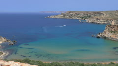 Malta rocky coast with azure bays and sandy beaches Stock Footage