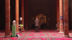 Uighur muslims praying in mosque, China Stock Footage
