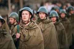Stock Photo of Parade of unidentified re-enactors dressed as Soviet soldiers du