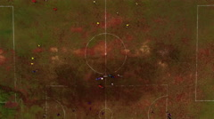 Soccer football playing on local field, aerial shot Stock Footage