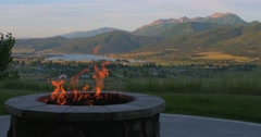 Mountain and fire pit left - stock footage