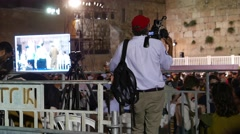Film Crew Shoot Ceremony at Western Wall Stock Footage