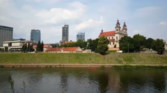 St Raphael The Archangel Church And The Neris River In Vilnius Lithuania Stock Footage