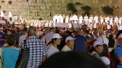 Crowd of People Attending Ceremony at Western Wall Stock Footage