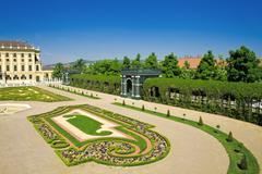 Gardens of Schonbrunn palace - stock photo