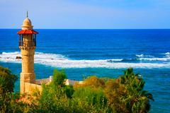 Landscape view from Tel Aviv coastline, Israel Stock Photos