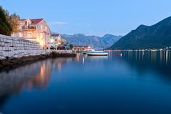 Peaceful lake in Perast, Montenegro Stock Photos