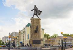 Lipetsk RUSSIA-05.08.2015. Monument to Peter the Great is one of main attract Stock Photos