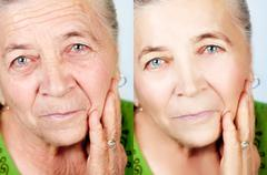 Beauty and skincare concept - no aging wrinkles - stock photo