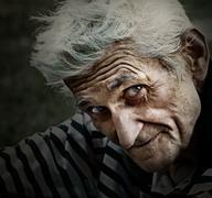 Vintage portrait of senior man with wisdom smile - stock photo