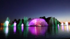 Musical dancing fountain, lazer visual effect show, city night illumination Stock Footage