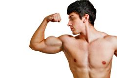 Man with muscular biceps isolated on white Stock Photos