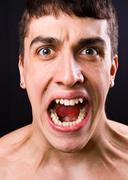 Scream of shocked and stressed man Stock Photos
