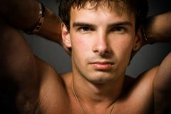 Portrait of young sexy man - stock photo