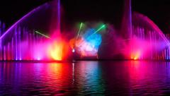 Musical dancing fountain, light visual effect, city night illumination  - stock footage