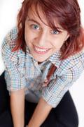 Smile of happy teen female student - stock photo