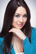 One cute young woman - stock photo