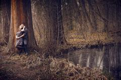 Young couple hugging with passion outdoor Stock Photos