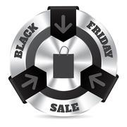 Black friday badge with shopping bag - stock illustration