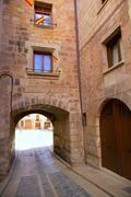 Mora de Rubielos in Teruel Aragon stonewall village - stock photo