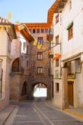 Mora de Rubielos in Teruel Aragon stonewall village - stock photo