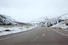 US snowing I 15 interstate snowed road in Nevada - stock photo