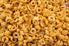 Pork rinds texture pattern snack Stock Photos