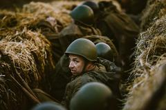 Reconstruction of Battle during events dedicated to 70th anniver - stock photo