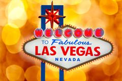 Welcome to Fabulous Las Vegas sign blurred highlights Stock Photos