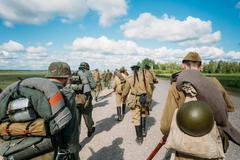 Unidentified re-enactors dressed as German and Soviet Russian so - stock photo