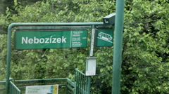 Funicular railway, Cable Car ride past sign, Nebozizek station Stock Footage