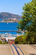 San francisco Hyde Street and Alcatraz island Stock Photos