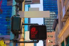 San Francisco downtown redlight on 1st street in California - stock photo