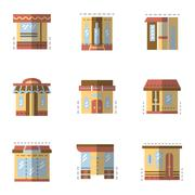 Flat color icons for building facade Stock Illustration