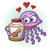 Peanut Butter and Jelly Fish Cartoon Character - stock illustration