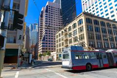 Stock Photo of San Francisco downtown buildings and tram California