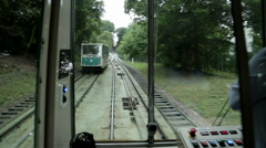Funicular Railway, Cable Car ride two pass each other Stock Footage