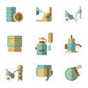 Auto service flat vector icons set - stock illustration