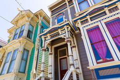 San Francisco Victorian houses in Pacific Heights California - stock photo
