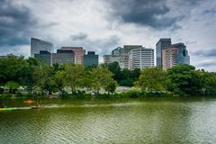 View of Rosslyn, from Roosevelt Island, in Arlington, Virginia. - stock photo