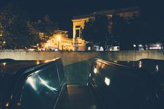 Stock Photo of Escalators to the Metro at Dupont Circle at night, in Washington, DC.