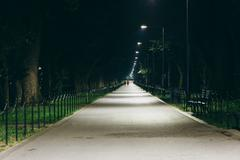 Stock Photo of Walkway at night, at the National Mall in Washington, DC.