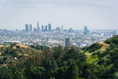 View of the Los Angeles skyline from Mulholland Drive, in Los Angeles, Califo - stock photo