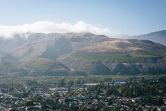 View of Ventura and distant mountains from Grant Park, in Ventura, California Stock Photos