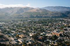 View of Ventura and distant mountains from Grant Park, in Ventura, California - stock photo