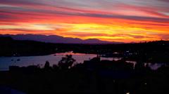 Brilliant Colors Sunset on Seattle, Washington Lake Union Stock Footage