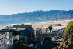 Stock Photo of View of Pacific Coast Highway and the Santa Monica Mountains from Palisades P