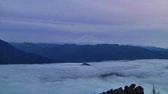 Mt Rainer, Washington Zoom to Purple Sunset Stock Footage