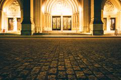 The front of the National Cathedral at night, in Washington, DC. - stock photo