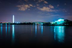 Stock Photo of The Washington Monument and the Thomas Jefferson Memorial at night, in Washin